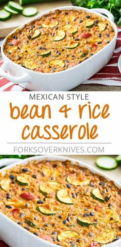 Mexican Style Bean and Rice Casserole Here, the classic beans and rice combination gets a kick with ancho chile powder and cumin. The No-Cheese Sauce adds a creamy. - Mexican Style Bean and Rice Casserole - Plant-Based Vegan Recipe Plant Based Whole Foods, Plant Based Eating, Plant Based Recipes, Veggie Recipes, Mexican Food Recipes, Whole Food Recipes, Vegetarian Recipes, Cooking Recipes, Healthy Recipes
