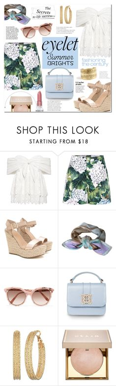 """Peek-A-Boo: Eyelet"" by mery90 ❤ liked on Polyvore featuring Sea, New York, Dolce&Gabbana, Emilio Pucci, Victoria Beckham, GUESS, Stila, Rodin and eyelet"