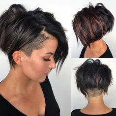 40 Pretty Pixie Hairstyles (April 2019 Collection) Pixie styles are absolutely stunning and can offer a lot of style and fun. It might seem scary… Short Hair Undercut, Short Asymmetrical Hairstyles, Undercut Pixie Haircut, Asymmetrical Pixie Cuts, Edgy Short Haircuts, Shaved Undercut, Popular Short Haircuts, Undercut Men, Short Hair Cuts For Women