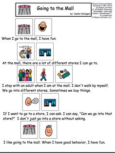 Going to the Mall Visual Social Story for Children with Autism