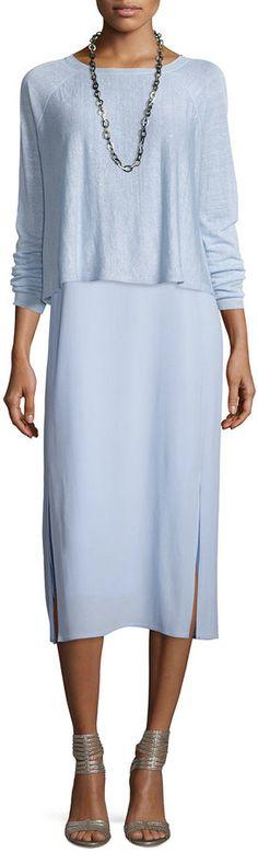Eileen Fisher Sleeveless Calf-Length Georgette Dress