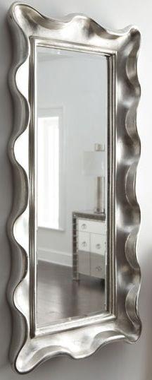 Horchow Silver Frill Edge Mirror.