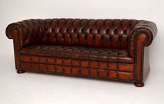 Antique Leather Deep Buttoned Chesterfield Sofa is a real character piece & extremely comfortable too. The leather is in very good original condition & is naturally distressed with a wonderful colour. There are no tears or splits, only natural old markings. It's hand studded & sits on bun feet. Please do not confuse this chesterfield with all the mass produced ones out there. I would say it dates to around the 1920-30s period & it's one of the nicest ones I've come across.