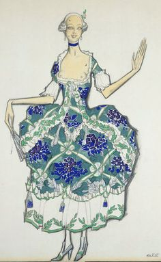 By Leon Bakst (1866-1924), 1 9 1 7, The ballet Les Femmes de Bonne Humeur (The Good-Humoured Ladies) is based on a play by the Venetian dramatist Carlo Goldoni.