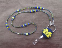 Michigan Wolverines Beaded Lanyard Yellow & by TheLanyardNecklace, $30.00