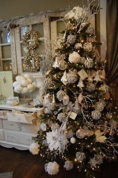 white christmas tree heaven white christmas christmas home christmas holidays shabby chic - Chic Christmas Decorations
