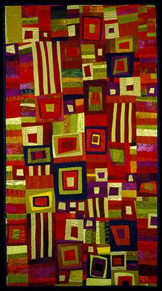 """image of quilt titled """"Acid Greens/Raging Reds"""" by Judith MacMillan © 2005"""