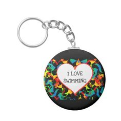 I Love Swimming Heart Editable Modern Abstract Keychain - love gifts cyo personalize diy