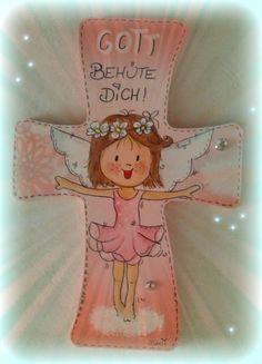"Kinderkreuz - Gott behüte dich ""Kleine Ballarina""  Preis: 25,-- Teddy Bear, Christmas Ornaments, Holiday Decor, Animals, Home Decor, God, Crosses, Xmas Ornaments, Animales"