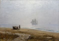 Coastal Scene with a Passing Ship Lev Lagorio -