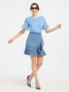 Draper James Sailor Stripe Ruffle Ponte Tee