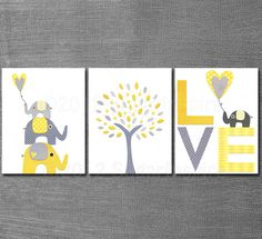 Grey and yellow wall art