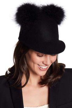 kate spade new york Pompom Accent Wool Cap