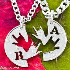 Best Friend Necklaces with your initials, ASL I love you hands, hand cut coin