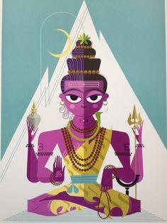 for Yoga Mamas! Without going into great detail of Hindu mythology, the Hindu Trimukti (trilogy if you will) is Brahma, Shiva, Vishnu. Shiva the Destroyer. Arte Shiva, Shiva Art, Toy Story 3, Indian Illustration, Lord Murugan, Om Namah Shivaya, India Art, Wall E, Hindu Deities