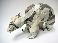 Polar bear made from plastic bags and tape