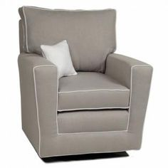 New box piping front! Smooth gliding and 360 swivel, you will never want to get up! This glider has a reversible pillow back & seat cushion with an updated modern look! An extensive selection of fabric choices available. Call the store or come in to check them out. Contrast piping is additional $70. Chair shown is $768.Specs:34x36x37NOTE: Freight charge on this chair is white glove service.