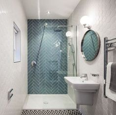 28 Cool Geometric Pattern Bathrooms Decorations: 28 Cool Geometric Pattern Bathrooms Decorations With Blue Shower Tiles And White Vanity And Lamps