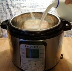 Pour the Milk into the Instant Pot DUO