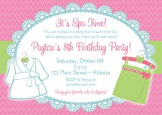 Spa Birthday Party Invitation Spa Birthday by TheButterflyPress, $12.00
