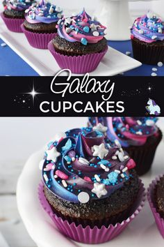 Could You Eat Pizza With Sort Two Diabetic Issues? Chocolate Galaxy Cupcakes To Make Any Event Out Of This World Via Jennifersoltys Galaxy Desserts, Köstliche Desserts, Best Dessert Recipes, Cupcake Recipes, Sweet Recipes, Delicious Desserts, Cupcake Cakes, Cupcake Party, Chocolate Galaxy