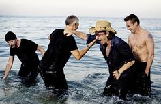 U2 - photo shoot for Blender magazine 2004. I love photos of them laughing and Larry is topless. What more could a girl want!  LOL.
