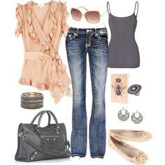 Cute Peach Ruffle Top, Gray Tank Top & Purse.  Blue Jeans.  Peach & Gray Print Flats.