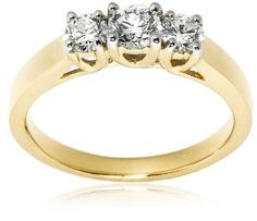 14k Yellow Gold 3-Stone Diamond Ring (3/4 cttw, H Color, SI2 Clarity), Size 6 Wedding Ring Finger REVIEW