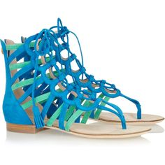 Emilio Pucci Two-tone suede gladiator sandals ❤ liked on Polyvore