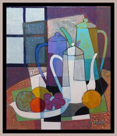 Acrylic painting on linen Size The three coffee makers Arte Contemporáneo. Cubist Art, Abstract Art, Still Life Art, Elements Of Art, Geometric Art, Mosaic Art, Altered Art, Art Lessons, Painting & Drawing