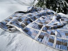 Really love the look of this quilt made from old shirts