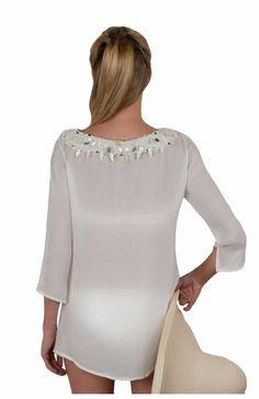 Silk Chiffon Seychelles Tunic in White - Back View