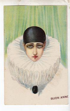 postcard Strong Art Deco of a pierrot clown Pierrot Costume, Pierrot Clown, Cute Clown, Send In The Clowns, Love Energy, Falling Down, Love And Light, Art Deco, Strong