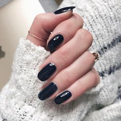 """I always alternate between darks & nudes. My go-to navy is this 's """"After School Boy Blazer"""" 🙌🏻 Navy Blue Nail Polish, Navy Blue Nails, Suede Moto Jacket, Faux Leather Pants, Navy Evening Dresses, Blazer For Boys, School Boy, Faux Fur Collar, Boy Blue"""