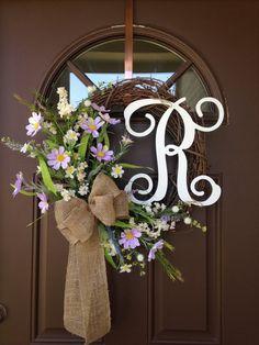 Everyday Summer Floral Wreath  Monogrammed Wildflowers by Flowenka