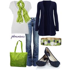 """Green & Blue"" by jklmnodavis- great transition look from summer to fall!"