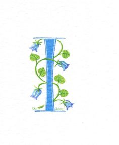 Unique handpainted manuscript initial letter 'I' decorated with bluebells.