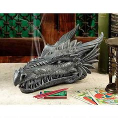 Stryker the Smoking Dragon Sculptural Incense Box