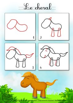 Alvin saved to zeichnet man ein Pferd? Drawing Lessons For Kids, Drawing Tutorials For Kids, Easy Horse Drawing, Drawing Tips, Cartoon Noses, Teaching Drawing, Cloud Drawing, Directed Drawing, Cartoon Drawings Of Animals