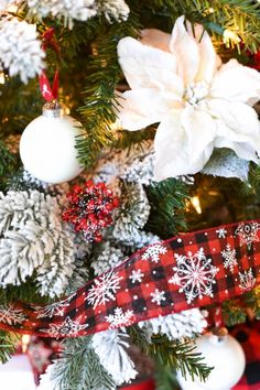 Flocked Buffalo Plaid Christmas Tree