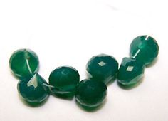 19 Ct Natural Brazil Top Green Onyx Faceted Onion 7-8 MM Loose 7 Bead Layout