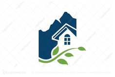 Logo for sale: Unique Real Estate Logo. Unique real estate logo showing mountain and nature scenery. The symbol itself will looks nice as social media avatar and website or mobile icon. leaf mountain house home residential realty realtor real estate logo logos buy purchase sell on sale sold product business brand design graphic unique recognized professional software apps app applications application mortgage appraisal leaves mount hill