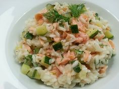 Romige risotto met gerookte zalm en courgette