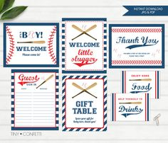 Baseball baby shower decor, Baseball baby shower decor printable, Baseball baby shower signs, welcome sign, thank you, gift table sign by TinyConfetti