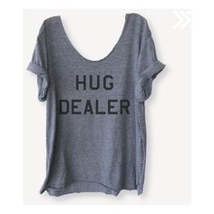 Grey Hug Dealer Off Shoulder Triblend Raw Edge Swanky Tee Funny... ❤ liked on Polyvore featuring tops, t-shirts, off the shoulder t shirt, grey t shirt, yoga t shirts, gray tees and grey off the shoulder top