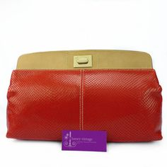Giuseppe Zanotti Clutch Bag Red Colour Snake Skin With Leather Good Condition Ref.code-(KSOE-2) More Information Or Price Pls Email  (- luxuryvintagekl@ gmail.com)
