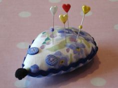 Vintage Fabric Hedgehog Pin Cushion or Brooch Cushion - Blue Floral Handmade Christmas Gifts, Christmas Gift Guide, Christmas Ornaments, Handmade Gifts, Retro Fabric, Vintage Embroidery, Stocking Fillers, Pin Cushions, Gingham