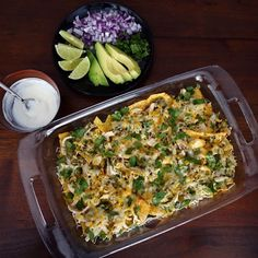 Serve this easy chicken chilaquiles casserole at a party or for dinner.