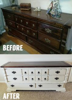 White Antique Dresser makeover round up: our house six months later. before and afters