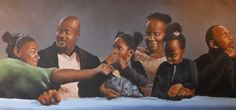 Restaurant mural. Detail of 13 foot long family/friend portrait I did for a restaurant.